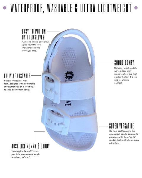 White Toddler Water Shoes for Girls & Boys | Slip on Sandals, Washable