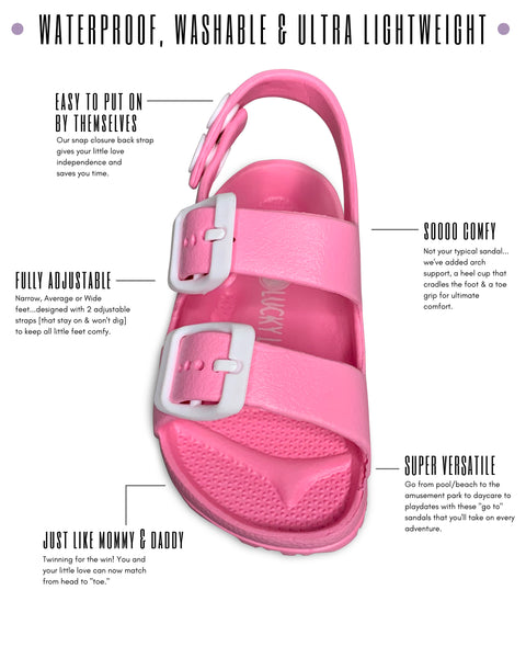 Pink Toddler Water Shoes for Girls & Boys | Slip on Sandals, Washable