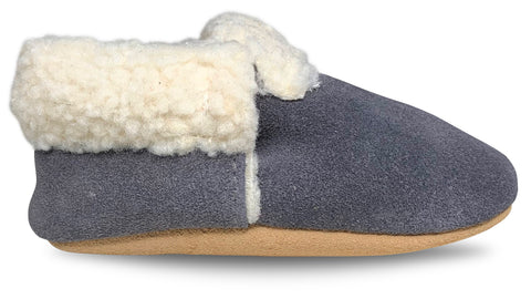 Grey Suede Sherpa Moccasins