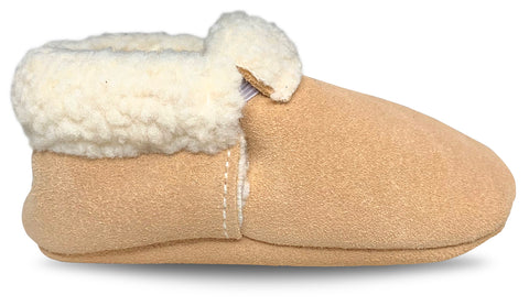Tan Suede Sherpa Moccasins