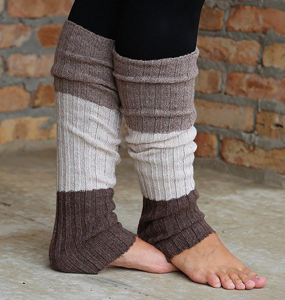 Chocolate/Mocha Striped Reversible Leg Warmers