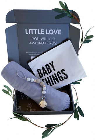 Blue Swaddle Gift Set | Includes Baby Receiving Blanket & Pacifier Clip