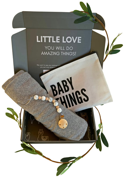 Grey Swaddle Gift Set | Includes Baby Receiving Blanket & Pacifier Clip