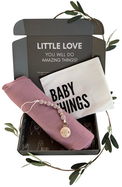 Purple Swaddle Gift Set | Includes Baby Receiving Blanket & Pacifier Clip