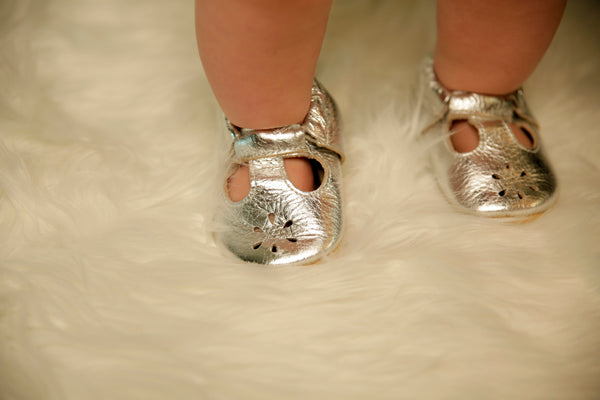 T-Strap Silver Soft Sole Prewalker Shoes
