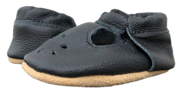 T-Strap Black Soft Sole Prewalker Shoes