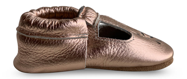 T-Strap Rose Gold Hard Sole Prewalker Shoes