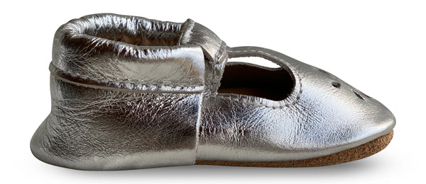 T-Strap Silver Hard Sole Prewalker Shoes