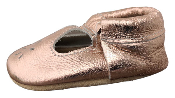 T-Strap Rose Gold Soft Sole Prewalker Shoes