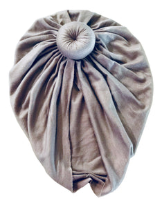 Grey Baby Turban for Newborn and Infant Girls with Free Canvas Bag