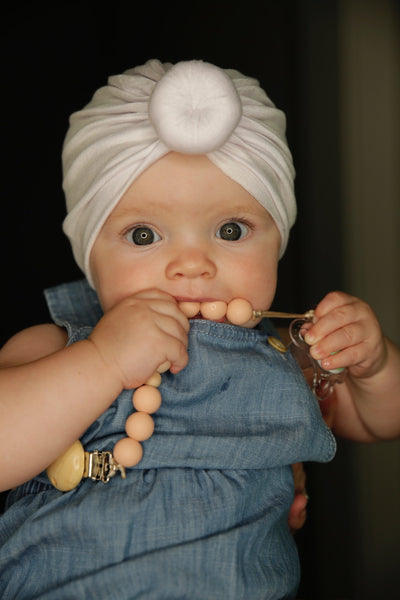 White Baby Turban for Newborn and Infant Girls with Free Canvas Bag