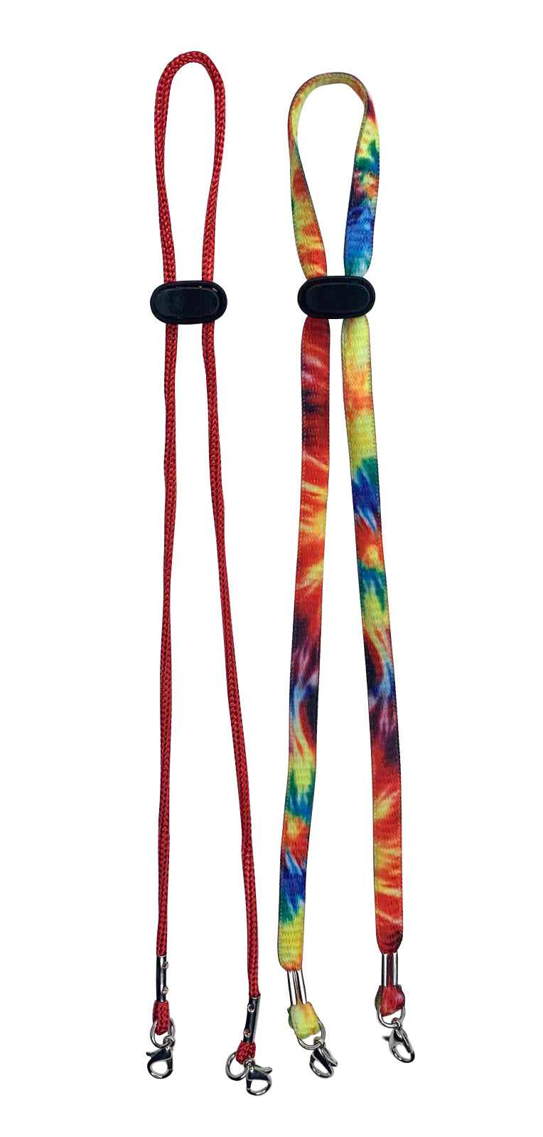 Yellow Tie Dye/Red Face Mask Lanyards for Kids and Adults - 2 Pack
