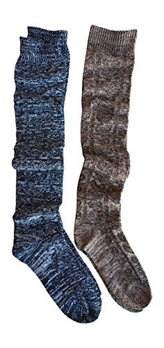 Black + Brown 2 Pack Marled Knee Length Boot Socks