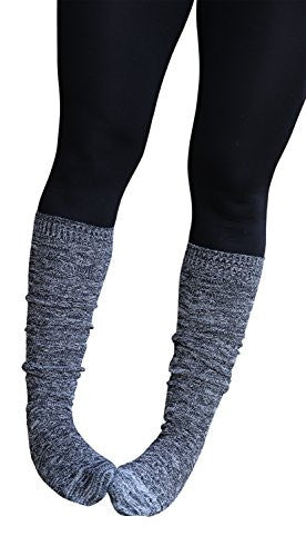 Black Marled Knee Length Boot Socks