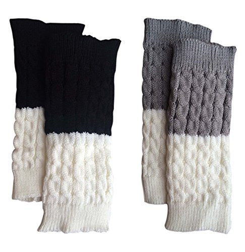 Black/Cream + Grey/Cream Double Sided Reversible Boot Cuffs 2 pk.