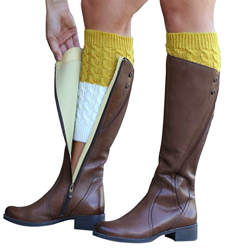 Mustard + Cream Reversible Boot Cuffs