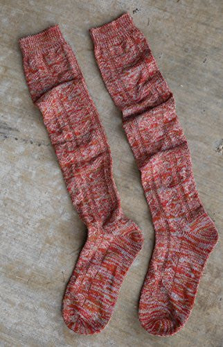 Rust Knee High Marled Boot Socks