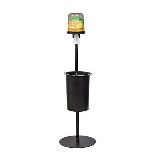 CitrusWirx disinfectant wipe dispenser on black freestanding stand