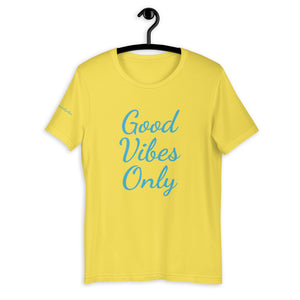 Short-Sleeve Unisex T-Shirt Yellow and Blue - Good Vibes Only