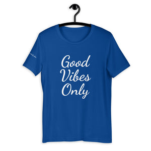 Short-Sleeve Unisex T-Shirt Blue and White - Good Vibes Only