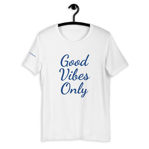 Short-Sleeve Unisex T-Shirt White and Blue - Good Vibes Only