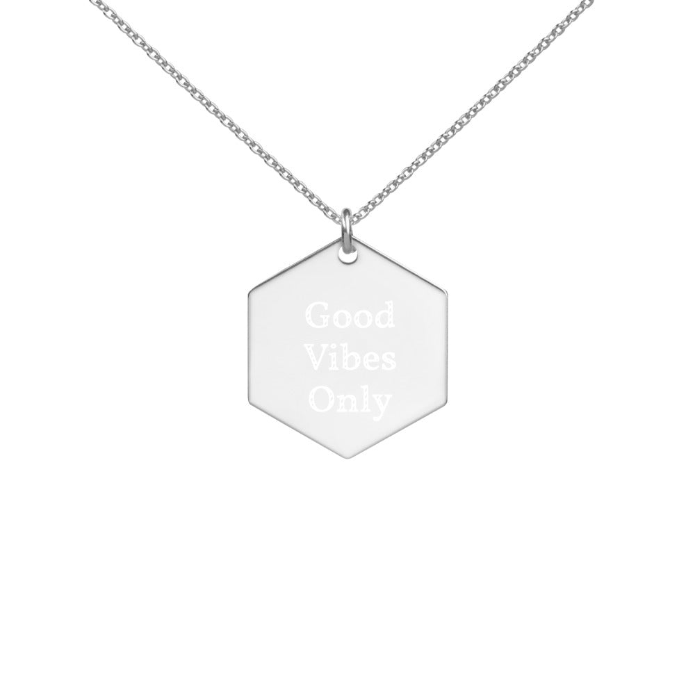Necklace Engraved Pendant Minimal - Good Vibes Only