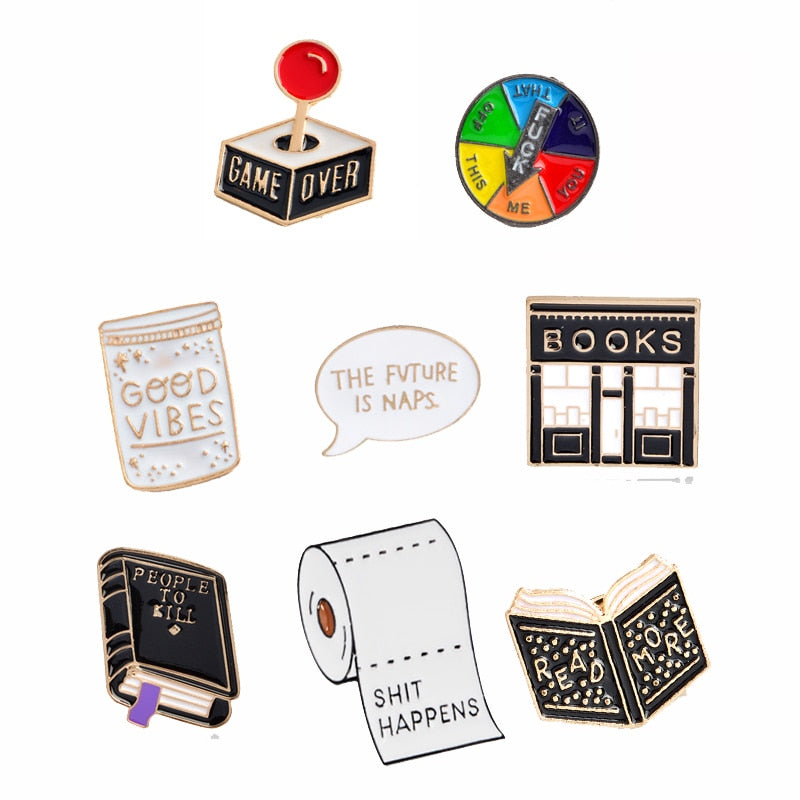 Brooches Book Pins Funny Quotes - Good Vibes Only