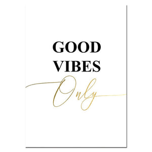 Canvas Print Gold Inspiring Poster - Good Vibes Only