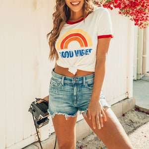 Short Sleeve O-Neck T-Shirt for Women Rainbow - Good Vibes Only