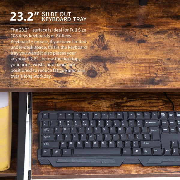Computer Desk with Storage Shelves/Keyboard Tray/Monitor Stand Study Table for Home Office