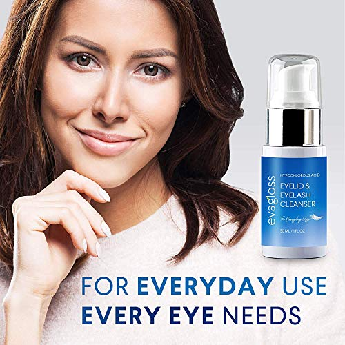 Evagloss Eyelid and Eyelash Cleanser for Eye Irritation and Eyelid Relief, Dry Eyes, 30ml