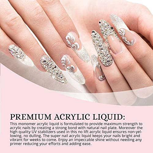 Paulinrise Professional Nail Polymer Kit Acrylic Powder Crystal Clear 2 oz and Acrylic Liquid Monomer 4 oz