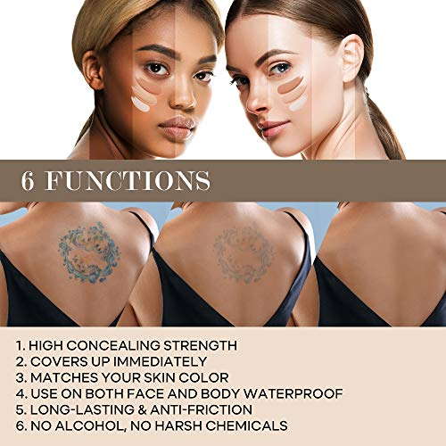Glossiva Tattoo Concealer - Skin Concealer - Waterproof - For Dark Spots, Scars, Vitiligo, And More
