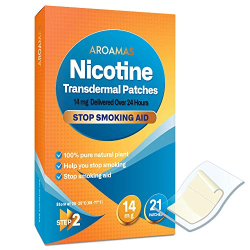 Aroamas Nicotine Patches [Step 2 (14mg), 21 Counts] for Smoking Cessation: for Week 7~8