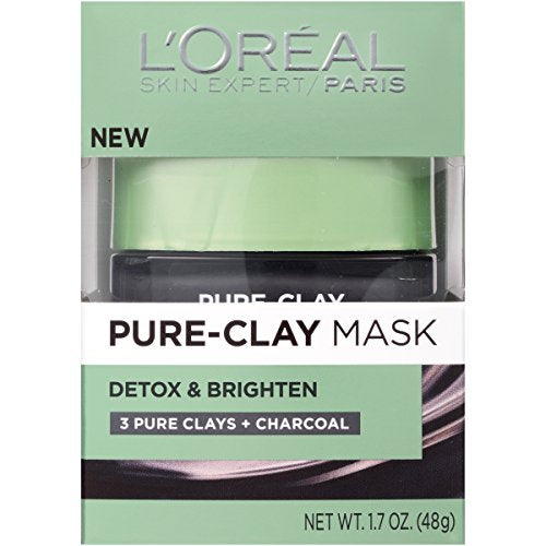 Clay Facial Mask, L'Oreal Paris Skincare Pure Clay Face Mask with Charcoal for Dull Skin to Detox & Brighten Skin, at home face mask, 1.7 oz [2 Pack]