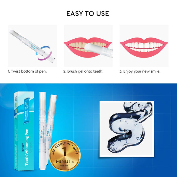 Teeth Whitening Pen 2 Pens, 30 Plus Uses Effective, Painless, No Sensitivity