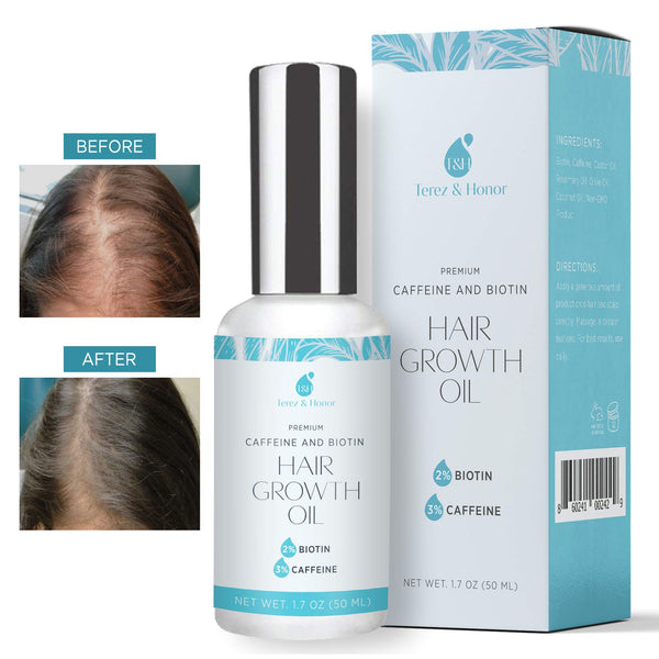 Hair Growth Oil with 2% Biotin 3% Caffeine Castor Oil, Rosemary Oil