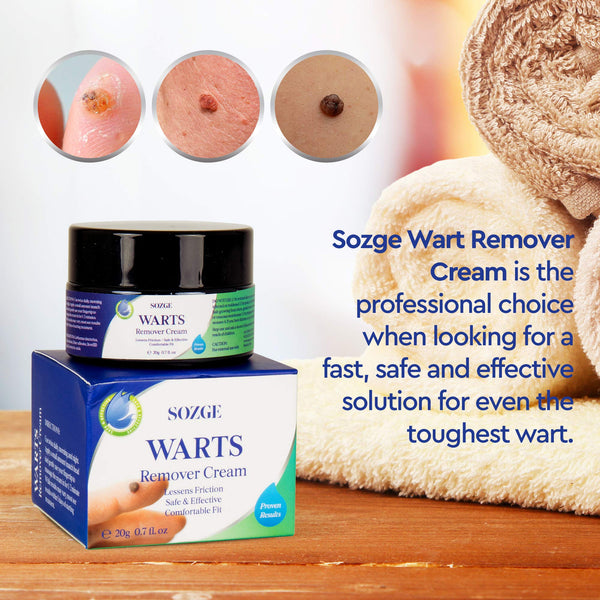 SOZGE Wart Cream- Maximum Strength - Wart Cream for Flat Warts, Plantar Warts, Common Warts