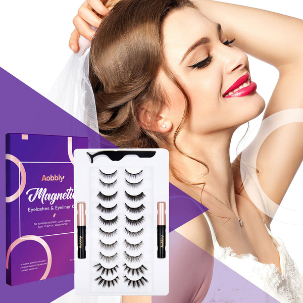 Magnetic Eyeliner And Eyelashes Kit - 10 Pairs - High Grade Design - Easy-to-Use - No Glue Needed