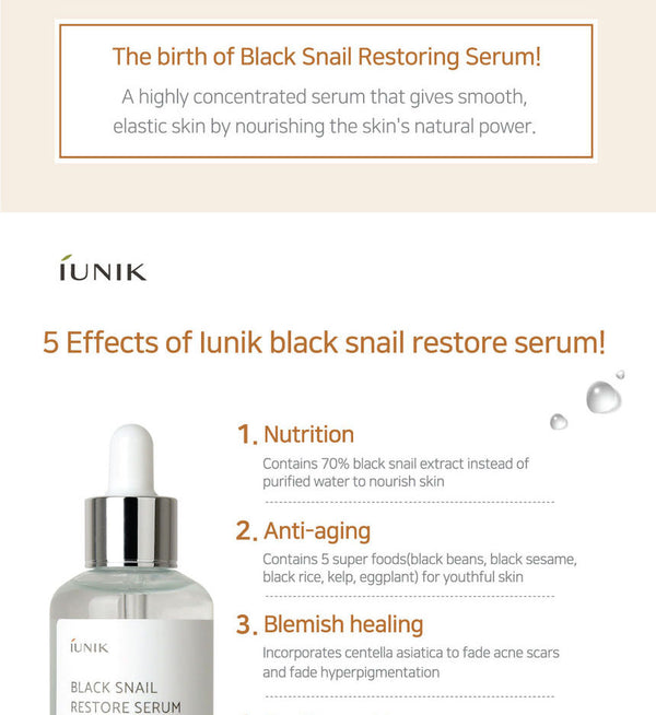 iUNIK - Black Snail Restore Serum 50ml