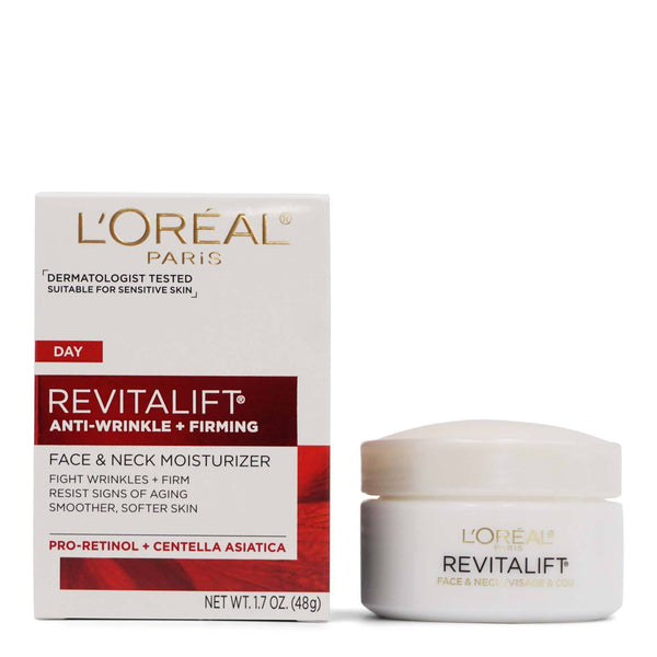 L'Oreal Revitalift Face & Neck Anti-Wrinkle & Firming Moisturizer Day Cream 1.70 oz [2 Pack]