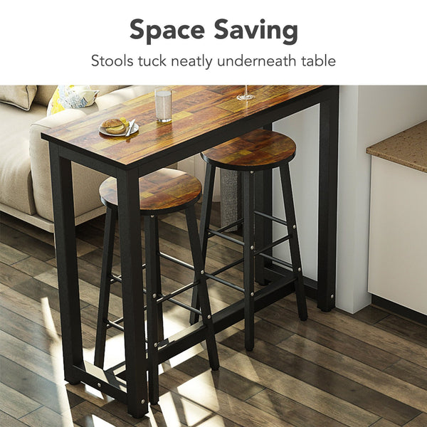 3-Piece Pub Table Set, Counter Height Dining Table Set with 2 Bar Stools for Kitchen Nook, Dining Room, Living Room, Small Space