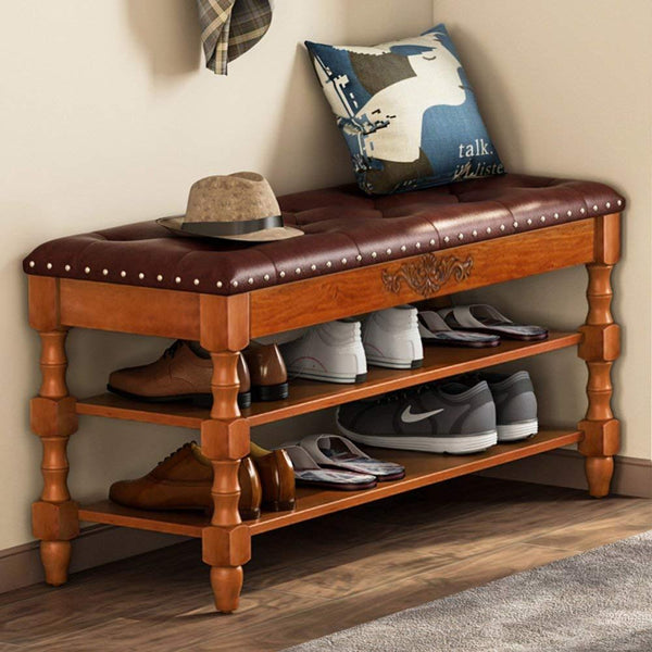 Tribesigns  Solid Wood Storage Bench Entryway with Lift Top, 2-Tier Vintage Style Shoe Rack with Tufted Leather Accents