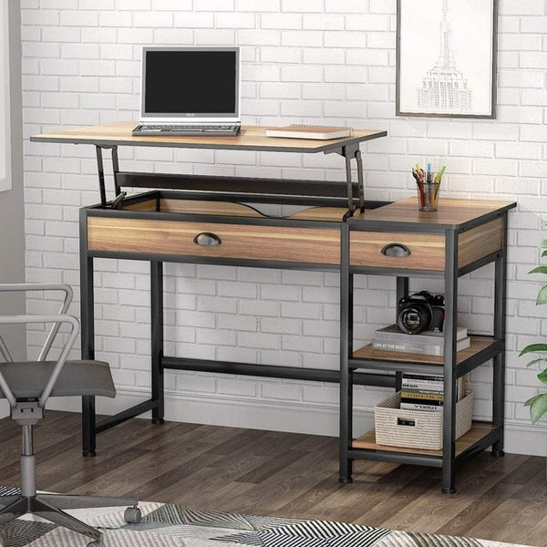 "Tribesigns Rural Lift Desktop Computer Desk with Drawers, 47 ""Writing Desk with Storage Shelves, Study Desk Workstation"