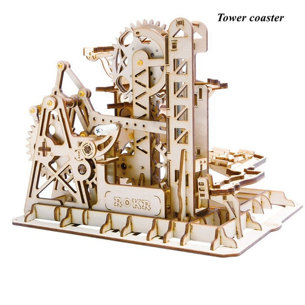Marble Run Game DIY Waterwheel Wooden Model Building Kits Assembly Toy