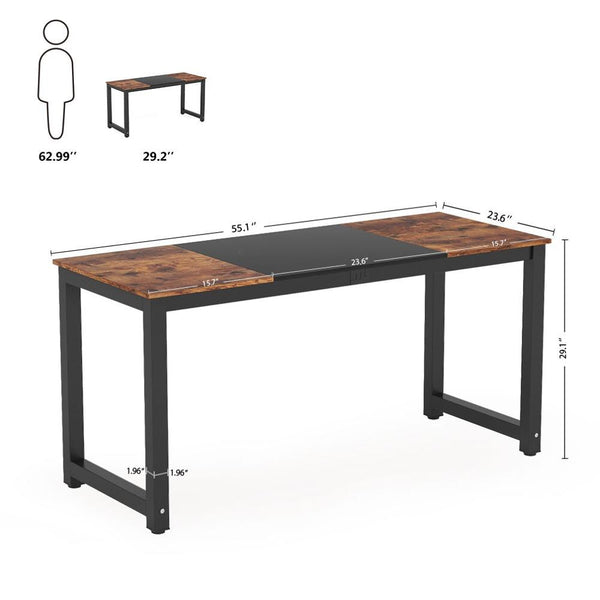 Tribesigns Computer Desk, 55 inch Large Office Desk Computer Table Study Writing Desk for Home Office