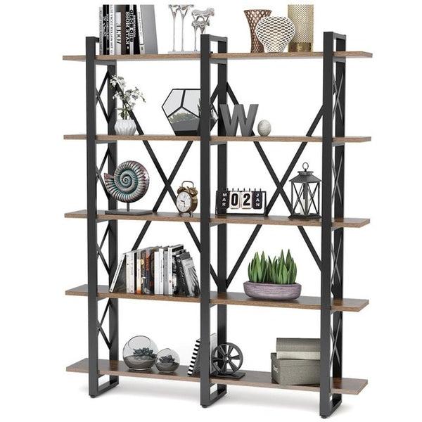 Tribesigns Double Wide 5-Shelf Bookcase