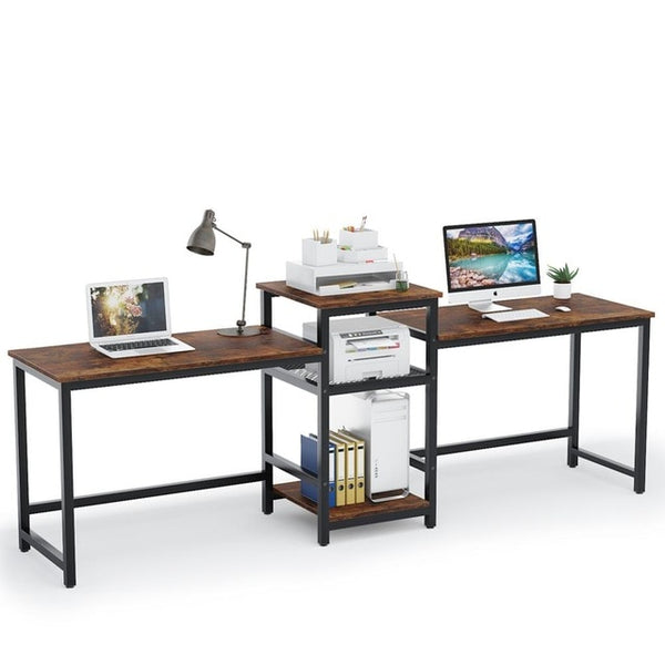 "Tribesigns 96.9"" Double Computer Desk with Printer Shelf, Extra Long Two Person Desk Workstation with Storage Shelves"