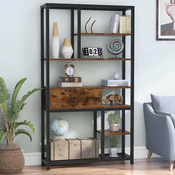 Tribesigns Retro Bookcase, Rustic 8-Tier Bookshelf with Drawers