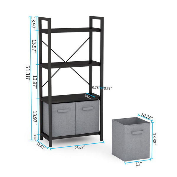 Tribesigns Bookcase with 2 Foldable Cloth Drawers, Etagere Standard Bookshelf